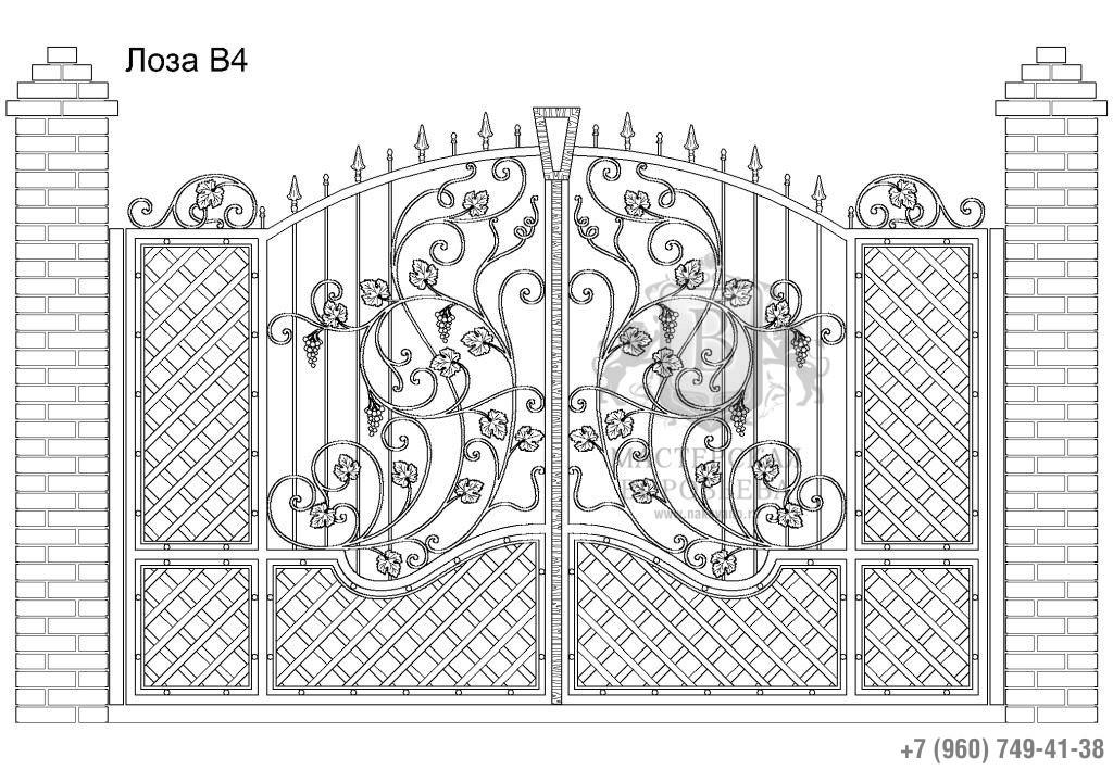 Ворота Лоза В4, цена 113 160 руб., изготовление 30 дней