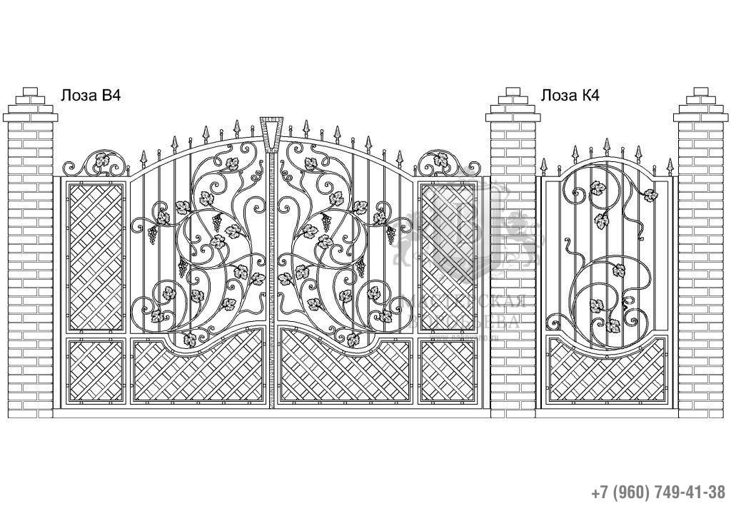 Ворота Лоза В4 + Калитка Лоза К4. Цена: 147 120 руб.