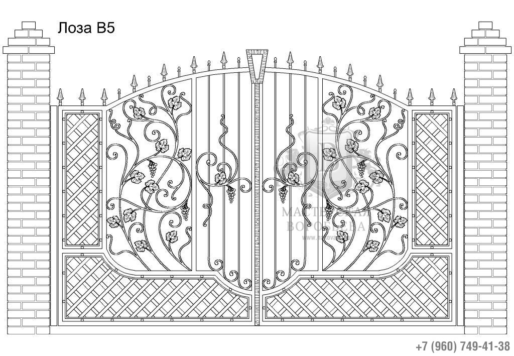 Ворота Лоза В5, цена 113 160 руб., изготовление 30 дней